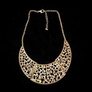 Gold-tone statement bib necklace